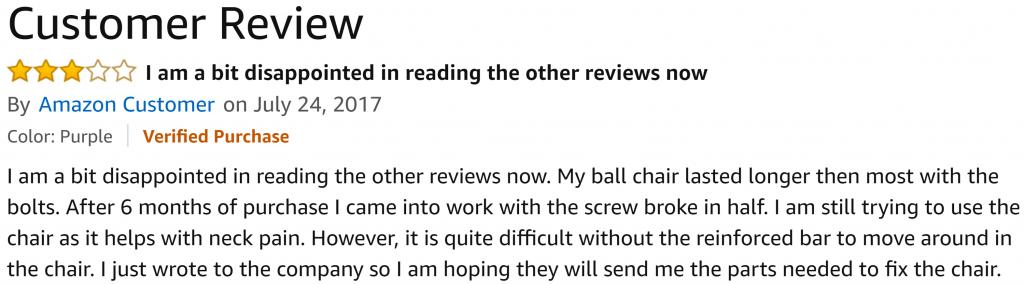 negative review balance ball chair gaiam
